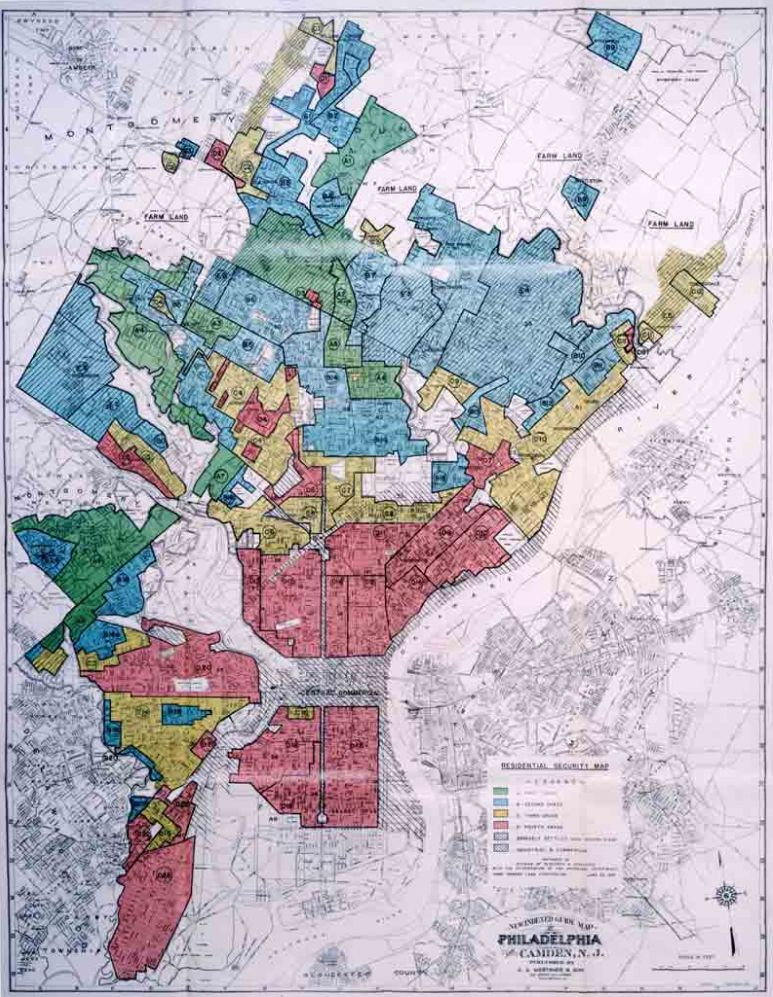 Philadelphia redlining map 1937