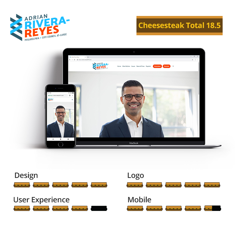 Graphic showing Adrian Rivera-Reyes awarded 16.5 total cheesesteaks; 5 out of 5 for design, 5 out of 5 for logo, 4 out of 5 for user experience, and 4.5 out of 5 for mobile.