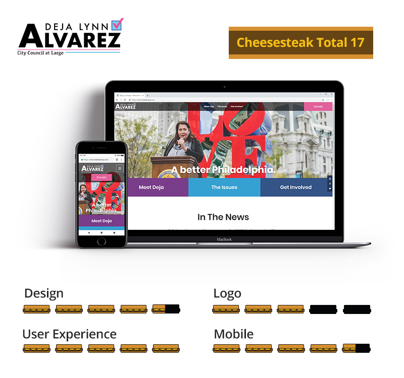 Graphic showing Deja Lynn Alvarez awarded 17 total cheesesteaks; 4.5 out of 5 for design, 3 out of 5 for logo, 5 out of 5 for user experience, and 4.5 out of 5 for mobile.