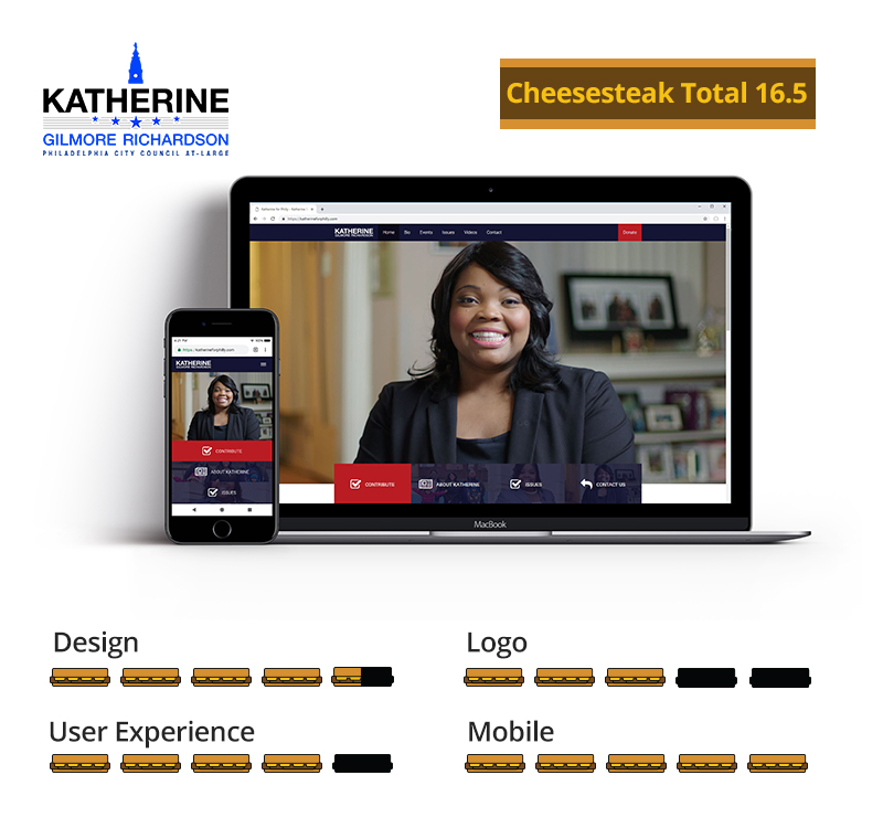 Graphic showing Katherine Gilmore Richardson awarded 16.5 total cheesesteaks; 4.5 out of 5 for design, 3 out of 5 for logo, 4 out of 5 for user experience, and 5 out of 5 for mobile.