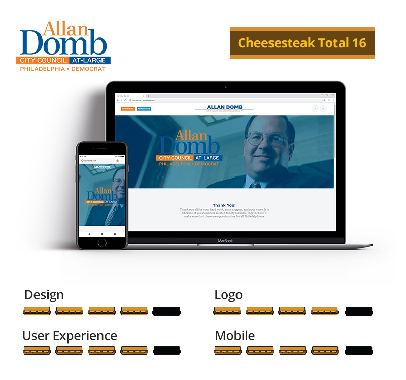 Graphic showing Allan Domb awarded 16 total cheesesteaks; 4 out of 5 for design, 4 out of 5 for logo, 4 out of 5 for user experience, and 4 out of 5 for mobile.