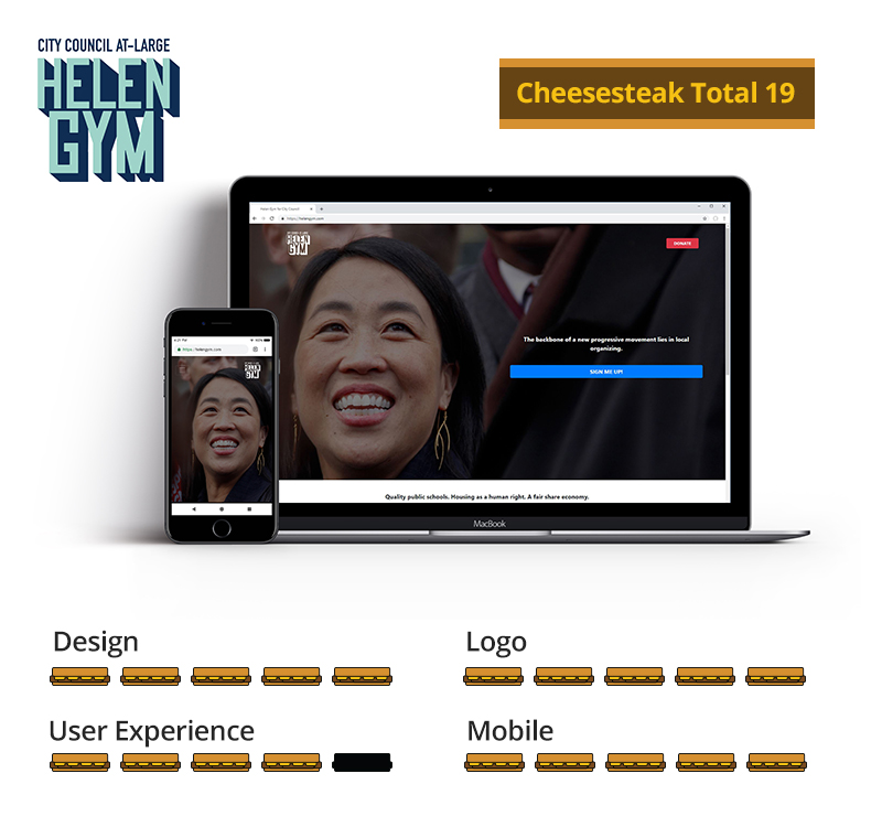 Graphic showing Helen Gym awarded 16.5 total cheesesteaks; 5 out of 5 for design, 5 out of 5 for logo, 4 out of 5 for user experience, and 5 out of 5 for mobile.